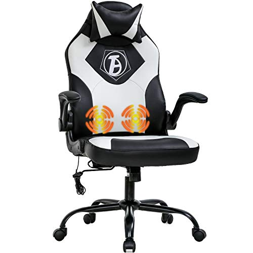PC Gaming Chair House Location of job Chair Ergonomic Desk Chair PU Leather Adjustable Laptop Chair with Lumbar Enhance Headrest Armrest Job Rolling Swivel Rubdown Racing Chair for Women Adults(White)