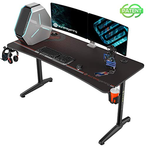 EUREKA ERGONOMIC Gaming Desk 60″ Dwelling Set up of labor Computer Desk, Recent Polygon Legs Invent, Captain Sequence (60 Paddle, Dusky)