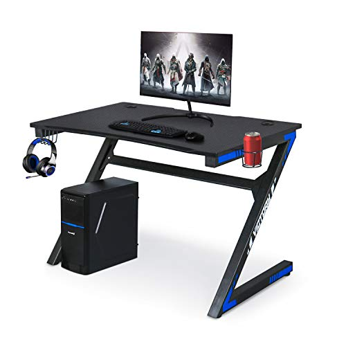 Gaming Laptop Desk with Astronomical Carbon Fiber Surface Cup Holder & Headphone Hook for Home or Attach of commercial, Gaming PC Desk Desk (Unlit &
