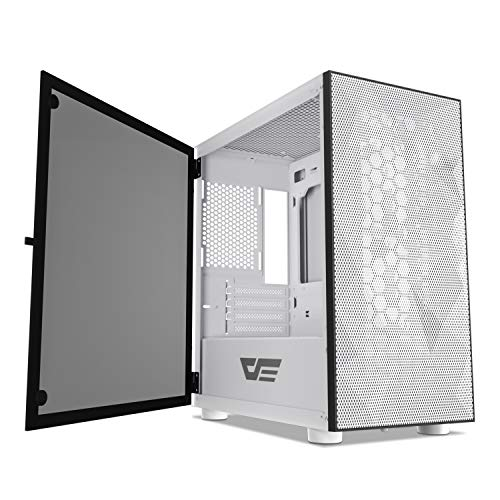 darkFlash DLM21 MESH Micro ATX Mini ITX Tower MicroATX White Pc Case with Door Opening Tempered Glass Facet Panel & Mesh Entrance Panel