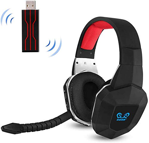 PS4 Wireless Gaming Headset USB for PC Computer Nintendo Swap PS4 Slim with Virtual 7.1 Surround Sound and Stereo Over Ear