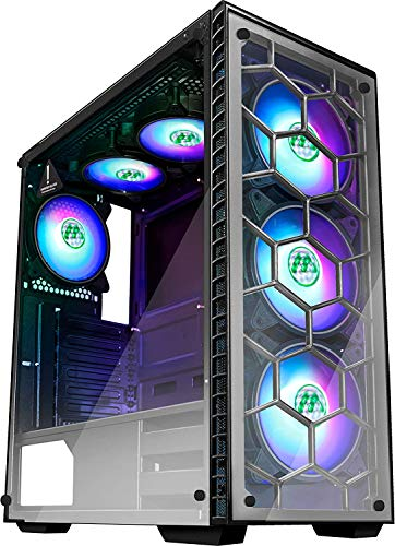 MUSETEX Phantom Sad ATX Mid Tower Desktop Computer Gaming Case USB 3.0 Ports Tempered Glass House windows with 120mm LED RGB Fans Pre-Installed (6 RGB Fans)