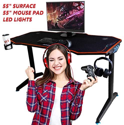 OCD By Originate Gaming Computer Desk or Computer Gaming Desk 55″ Broad Huge Workplace Desk, Pro PC Video Gamer Desk, Multi Colored LED Lights,  Carbon Fiber Surface,