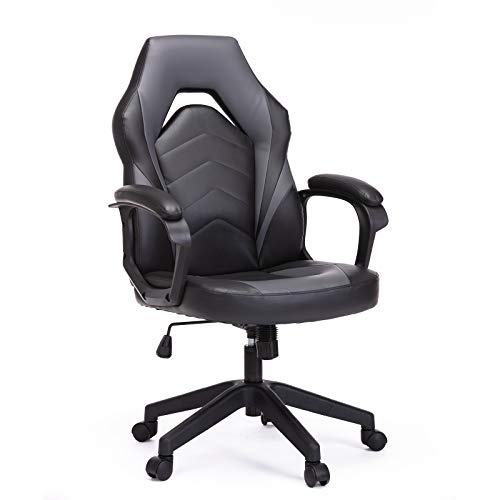 SMUGCHAIR Racing Gaming Executive Bonded Leather-essentially based fully fully Laptop Administrative heart Chair with Rubdown and Padding Armrest, Grey