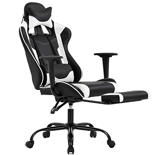 Ergonomic Office Chair PC Gaming Chair Desk Chair Executive PU Leather Pc Chair Lumbar Support with Footrest Standard Project Rolling Swivel Chair for Females, Males(White)