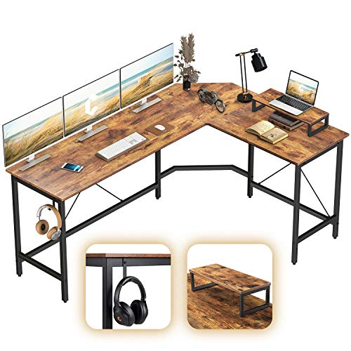 CubiCubi L-Fashioned Desk Laptop Nook Desk, House Quandary of job Gaming Desk, Sturdy Writing Workstation with Tiny Desk, Quandary-Saving, Easy to Assemble, Rustic Brown