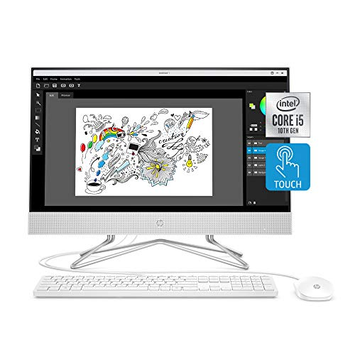 HP 24-move All-in-One Touchscreen Desktop Computer, Intel Core i5-1035G1 processor, 12 GB RAM, 512 GB SSD, Dwelling windows 10 Dwelling (24-df0170, White)