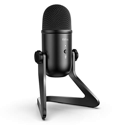 FIFINE USB Podcast Microphone for Recording Streaming on PC and Mac,Condenser Computer Gaming Mic for PS4.Headphone Output&Quantity Control,Mic Originate Control,Silent Button for Vocal,YouTube.(K678)