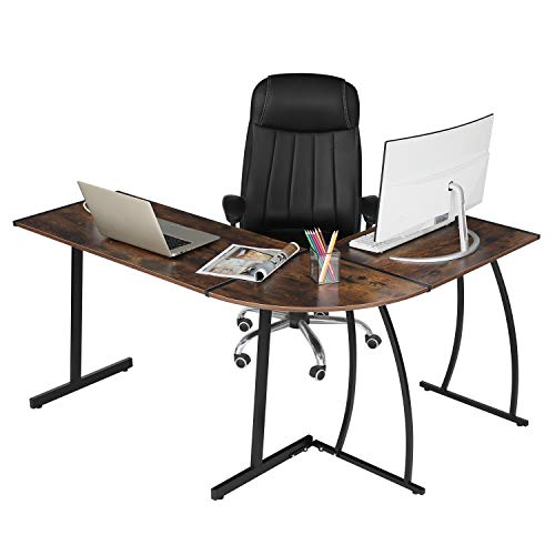 GreenForest Dwelling Place of business Laptop Desk L Fashioned Corner Gaming Desk Laptop laptop Workstation 3-Share Writing Table, Rustic Brown