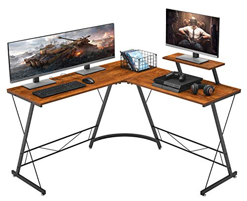 Mr IRONSTONE L-Formed Desk 50.8″ Laptop Nook Desk, Home Gaming Desk, Office Writing Workstation with Huge Song Stand, Assert-Saving, Straightforward to Assemble, (Traditional)