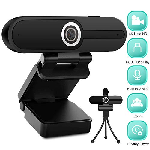 4K HD Webcam with Microphone, 8MP USB Computer Net Digicam With Privateness Shutter and Tripod, Educated Streaming Webcam PC Cam Mac Desktop Computer for Gaming Video Recording Calling Conferencing On-line Lessons