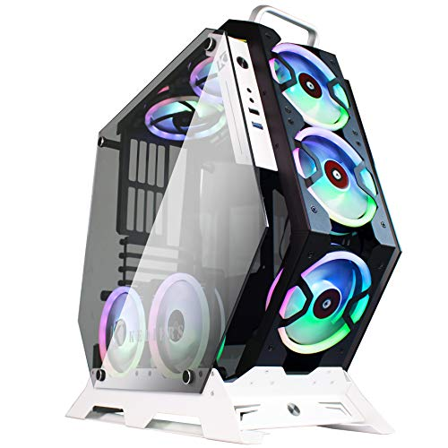 KEDIERS ATX Case Originate Frame Panoramic Viewing Gaming Laptop Case Laptop computer computer Case Mid Tower Case with 2 Tempered Glass RGB Followers (7 RGB Followers,
