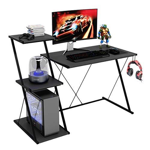 Bestier Z-Line Designs Computer Desk with 3 Tier Huge Storage Bookshelves 47×23 wobble X-Shape Legs Gaming Table PC Laptop private computer Enterprise Wooden Writing Desk for Dwelling Office Workstation Unlit