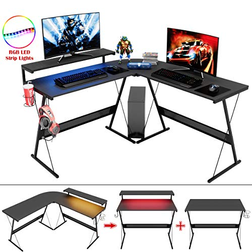 BestierL-Fashioned Home Office Pc Desk,Giant Elevated Ergonomic Video display Shelf Fashioned Corner PC Pc computer Desk Seek Table Workstation Gaming Desk with Led Strip Mild Storage Shelf Carb Shadowy