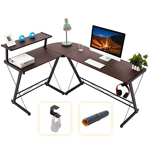 Gome L Fashioned Pc Desk – 61″ Corner Desk for Puny Enviornment, Trendy Dwelling Place of work Writing Desk for Work, Glance and Gaming, Ergonomic Wood Desk withBe aware Stand,