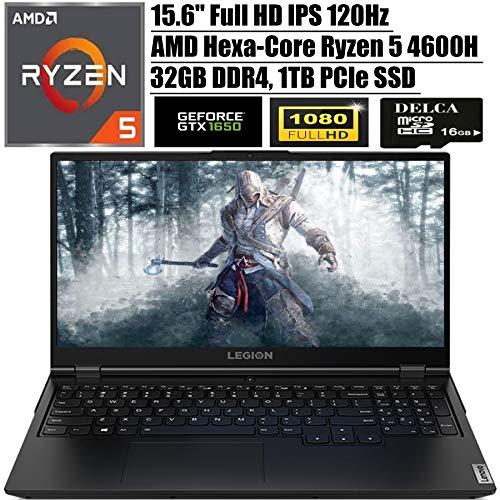 Lenovo Legion 5 2020 Newest Gaming Computer I 15.6″ FHD IPS 120Hz I AMD 6-Core Ryzen 5 4600H (i7-9750H) I 32GB DDR4 1TB PCIe SSD I NVIDIA GTX 1650 Backlit KB USB-C Have 10 + Delca 16GB Micro SD Card