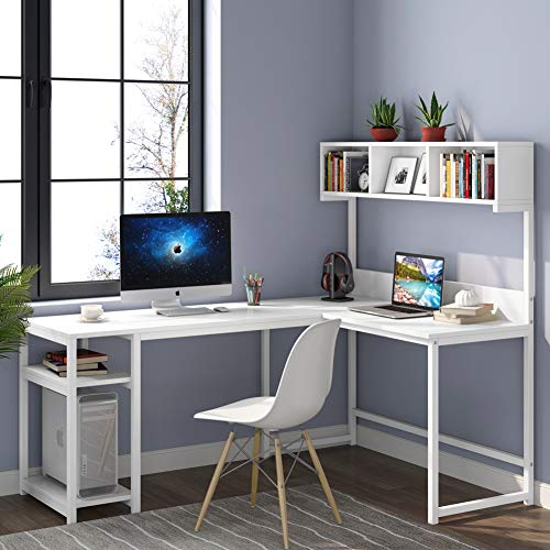 Tribesigns L-Formed Desk with Hutch, 68 inches Corner Pc Desk Gaming Desk Workstation with Storage Bookshelf for House Mumble of business (White)