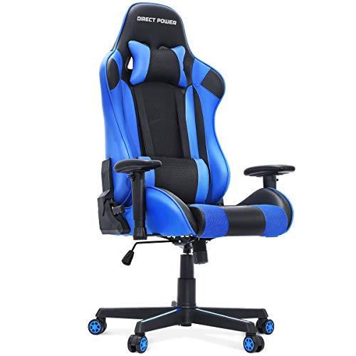 HEAO Gaming Chair Reclining Situation of business Computer Chair Sport Racing Chair Seat Height Adjustment Rotating Lifting armrest Recliner Swivel Rocker with Headrest and Lumbar Pillow Blue