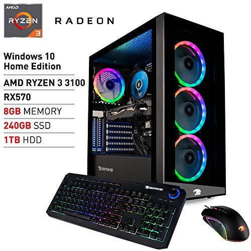 iBUYPOWER Pro Gaming PC Computer Desktop Ingredient MR9700v2 (AMD Ryzen 3 3100 3.6GHz, AMD Radeon RX 570 4GB, 8GB DDR4 RAM, 240GB SSD, 1TB HDD,