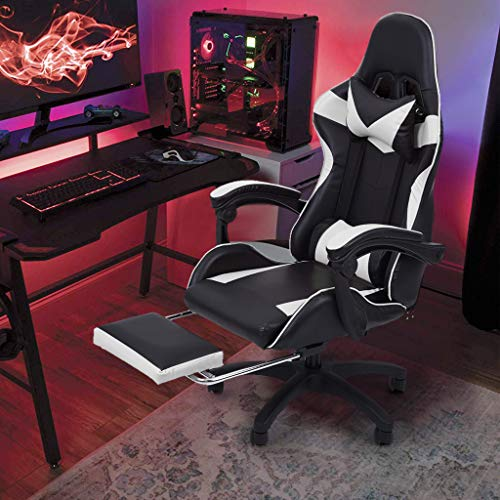 Clear Huge and Sizable Gaming Chair with Massage Lumbar Enhance, with Footrest Adjustable Backrest Reclining, Leather Armrest Excessive Attend PC Racing Office Computer Desk Ergonomic Swivel Activity Chair (White)