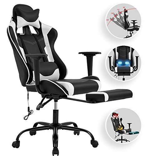 Vnewone Computer Gaming Chair Region of job PC Ergonomic Home Govt Desk Racing Rolling Swivel Activity Adjustable Excessive-Motivate PU Leather with Lumbar Advantage Footrest Headrest Armrest Massager,
