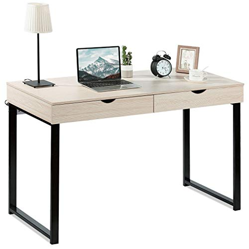 """47"""" Desktop Computer Desk with 2 Drawers, Dwelling Field of enterprise Multi-Layer Storage Be taught about Writing Desk Computer Gaming Desk Bedroom Computer Be taught about Desk Bookcase (White Maple,"""