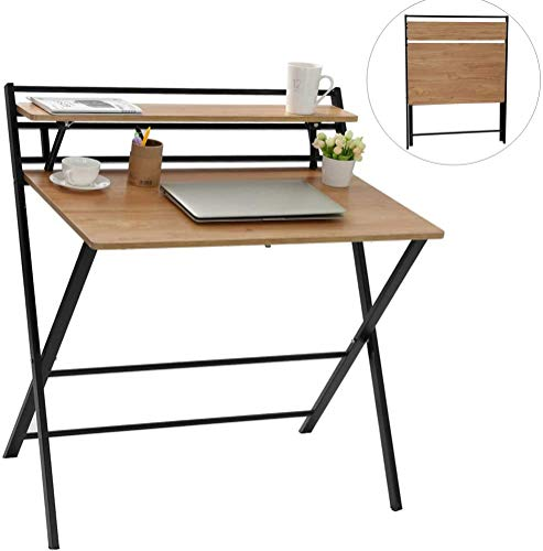 HX88 Folding Computer Desk with Shelf, 2 Motive Space of job Stumble on Table, Dwelling Sturdy Nature Wooden Desk for PC Computer Gaming (Khaki)