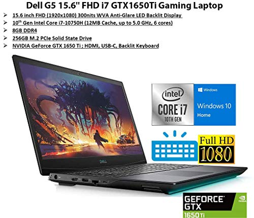 "Most modern Dell G5 15.6"" FHD Gaming Pc computer, i7-10750H, Backlit Keyboard, Bluetooth, USB-C, HDMI, Mini DP, NVIDIA GeForce GTX 1650 Ti, Home windows 10 Home,"