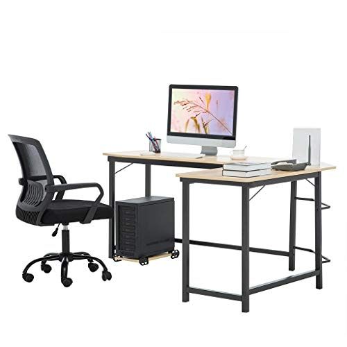 Daopwlkom L-Shaped Desk Computer Nook Desk, Dwelling Gaming Desk, Place of work Writing Workstation Computer pc Table with Shelves, Condominium-Saving, Easy to Assemble (L Shaped Desk (White))