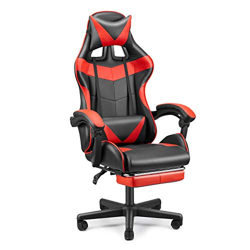 FERGHANA Station of job Chair,Gaming Chair,E-Sports activities Chair,PC Pc Chair,Racing Model Racing Chair with Hight Adjustment,Lumbar Crimson meat up,Headrest,Retractable Footrest-Magma Crimson