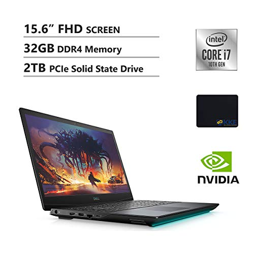 "Dell G5 15.6"" FHD Gaming Notebook computer, Intel i7-10750H, GTX 1650Ti, 32GB DDR4 RAM, 2TB PCIe Sturdy Boom Drive, HDMI, WiFi, Backlit Keyboard, KKE Mouse Pad,"