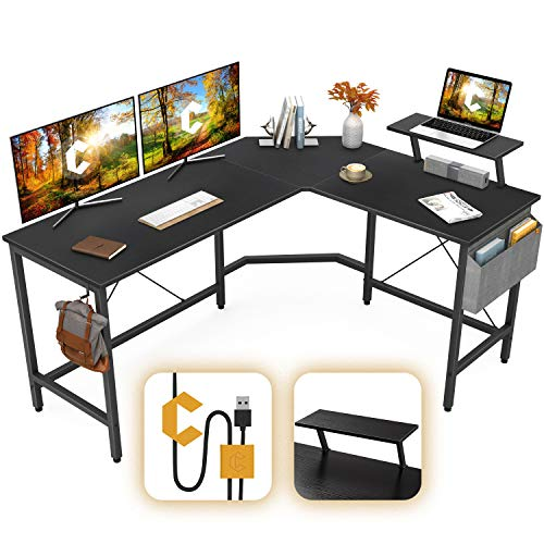 Cubiker Unusual L-Shaped Laptop Arrangement of business Desk, Corner Gaming Desk with Display screen Stand, House Behold Writing Table Workstation for Little Areas, Black