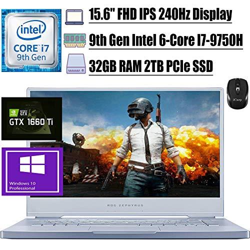 "2020 Flagship ASUS ROG Zephyrus M Gaming Notebook computer 15.6"" FHD IPS 240Hz ninth Gen Intel 6-Core I7-9750H 32GB RAM 2TB PCIe SSD GeForce GTX 1660 Ti 6GB RGB Backlit USB-C Win10 Pro + iCarp Wi-fi Mouse"