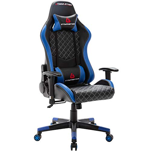 GTMONSTER Racing Model Video Gaming Chair, Reclining Ergonomic Leather-based totally mostly Place of job Computer Game Chair, Swivel Gaming Chairs for Adults, in Blue (Blue)