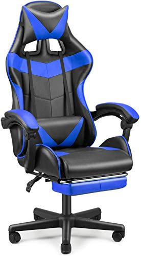 FERGHANA Racing Fashion PC Pc Chair,Gaming Chair, E-Sports Chair,Ergonomic Declare of work Chair with High Adjustment,Retractable Footrest,Headrest and Lumbar Toughen(Storm Blue)