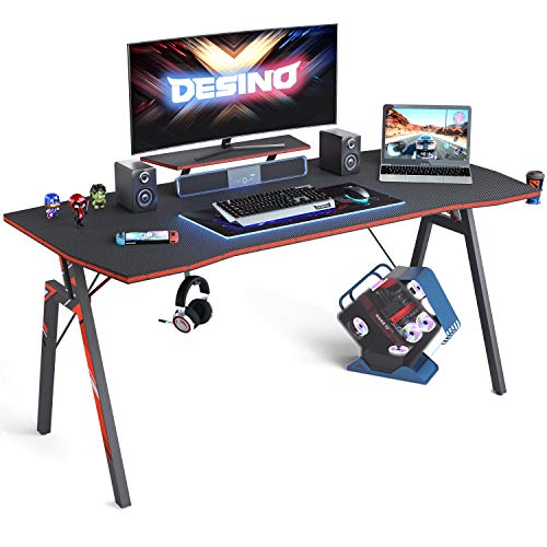 DESINO Gaming Desk 55 scuttle PC Laptop Desk, Dwelling Office Desk Desk Gamer Workstation with Cup Holder and Headphone Hook, Shadowy