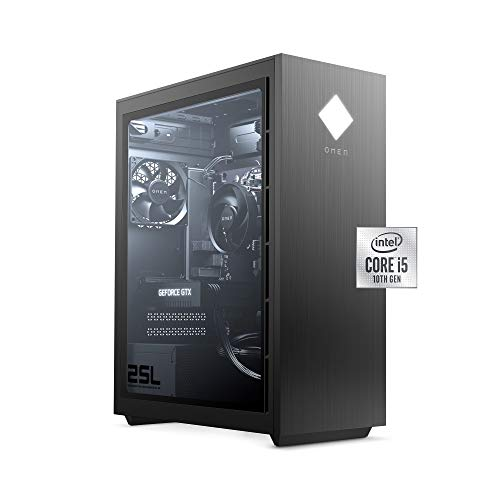OMEN 25L Gaming Desktop PC, NVIDIA GeForce GTX 1660 Dapper, Intel Core i5-10400F, HyperX 8 GB DDR4 RAM, 512 GB PCIe NVMe SSD, Windows 10 Home,