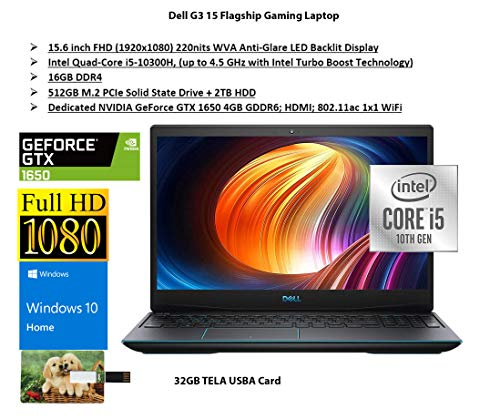 2020 Latest Dell G3 15 Flagship Gaming Computer 15.6″ FHD 60Hz Intel Quad-Core i5-10300H 16GB DDR4 512GB PCIe SSD 2TB HDD 4GB GTX 1650 Backlit Thunderbolt Procure 10 Dwelling| 32GB Tela USB Card