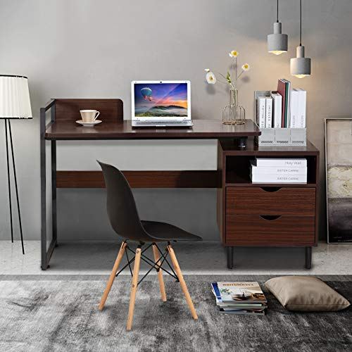 """COSVALVE Pc Desk, 56"""" Writing Search for Gaming Pc computer Table with Storage Drawer and Baffle,Metal Body, Apartment Saving, Up to date Easy Vogue PC Workstation for Home Assert of enterprise Indoor (Gloomy Walnut)"""