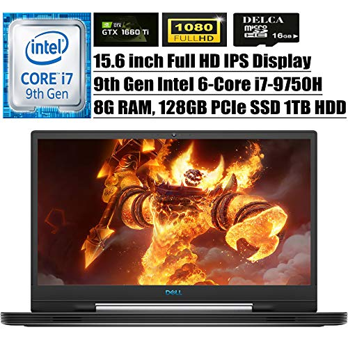 "Dell G7 15 7590 2020 Top price Gaming Pc I 15.6"" FHD IPS I Ninth Gen Intel Hexa-Core i7-9750H I 8GB DDR4 128GB PCIe SSD 1TB HDD I 6GB GTX 1660 Ti BRG Backlit KB Exercise 10 + Delca 16GB Micro SD Card"