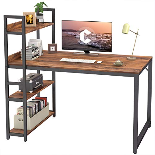 CubiCubi Computer Desk 47 traipse with Storage Cabinets Gape Writing Desk for Dwelling Office,Up-to-the-minute Straightforward Vogue, Darkish Rustic