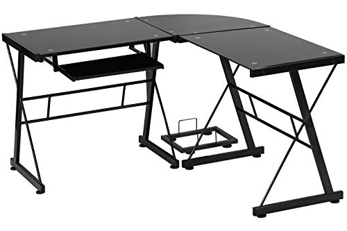 Computer Desk Gaming Desk L Shaped Corner Desk Home Draw of business Writing Workstation Toughened Glass Scrutinize Keyboard CPU Stand PC Contemporary Table for Shrimp Areas,Black