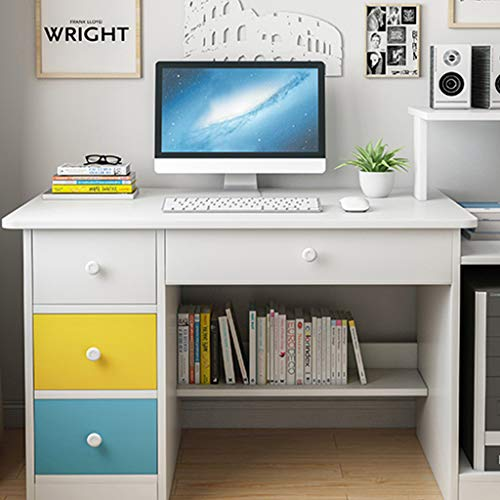 Computer Desk for Dwelling Residing of business Furnishings Young of us Leer Writing Table with 3 Drawers and 1 Open Cabinet Door, Contemporary Easy Simplicitys Leer Table with Mountainous Desktop PC Pc Workstation