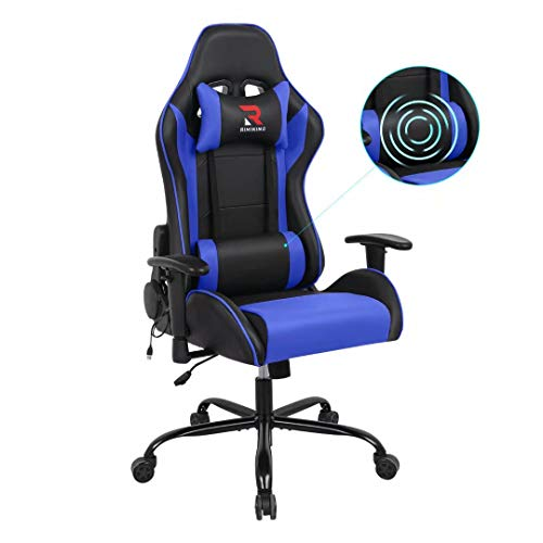 Rimiking Therapeutic massage Computer Gaming Chair-High Abet PU Leather-essentially essentially based Swivel Adjustable Armrest Ergonomic with Comfy Headrest&Backrest Blue