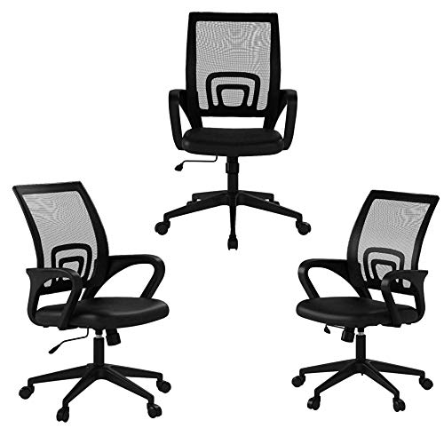 Payhere Government Process Ergonomic Desk Home Computer Gaming Place of job Chair Mesh Working Chair with Mid-Aid Lumbar Beef up Armrest Contemporary Adjustable Swivel Rolling Desk Chair(3 Pack)