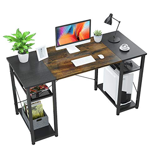 Foxemart Laptop Desk with Storage Shelves, 55″ Sturdy Space of business Desk with CPU Stand, Industrial Desk See Writing Desk for Dwelling Space of business,
