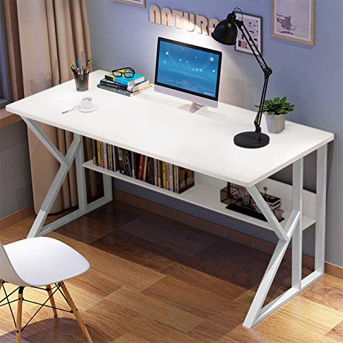 SHUDAGE Computer Desk for Dwelling Office,Gape Writing Table, Contemporary Easy Vogue PC Notebook computer Sturdy Easy Gaming Desk for Dwelling Office Workstation, Wood Color (White)