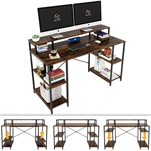 Nost & Host Computer Desk with Ergonomic Notice Shelf & Storage, Dual Notice Stand Hutch and Home Place of job Gaming & Working Sturdy Table with Adjustable Cupboards,
