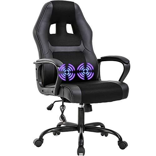 PC Gaming Chair Rub down Office Chair Ergonomic Desk Chair Adjustable PU Leather Racing Chair with Lumbar Reinforce Headrest Armrest Job Rolling Swivel Computer Chair for Ladies folks Adults(Murky)
