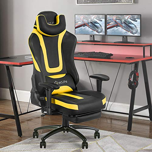 Okeysen Gaming Chair,Ergonomic Recliner Excessive Aid Grownup Computer Game Chair With Retractable Footrest, Massager and Upgraded headrest, Racing Vogue Swivel Office Desk Chair, Leather Dwelling Chair(Yellow)